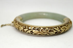 Vintage Chinese Silver And Natural Untreated Floral Jade Bangle Bracelet