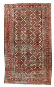 Antique Hand Knotted Carpet Geometric Persian Vintage Beige Wool Area Rug 3x6