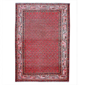 4x6 Hand Knotted Vintage Antique Geometric Oriental Turkish Red Area Rug