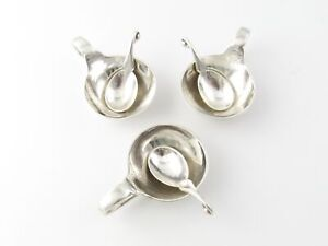 3 George Jensen Sterling Silver Salt Cellars And Matching Spoons 110 5160
