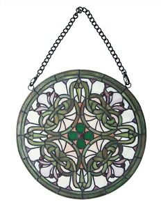 Victorian Trading Co Gaelic Stained Glass Hanging Green White Purple