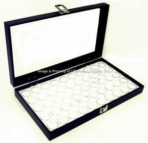 Glass Top White 100 Jar Gem Coin Collectors Showcase Display Case Box