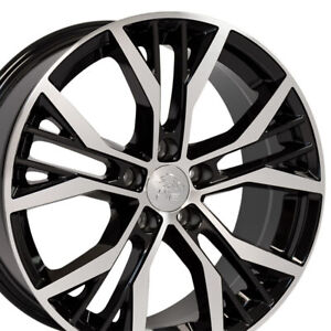 18 Rims Fit Volkswagen Vw Gti Jetta Eos Cc Passat Black Machd Wheel Et 45 Set