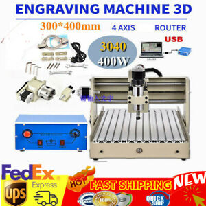 Cnc Router Engraver 3040 4 Axis 400w Usb Desktop Drill Mill Machine Metalworking
