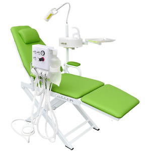 Dental Green Portable Chair Unit With Led Lamp Turbine Unit 2h Waste Basin