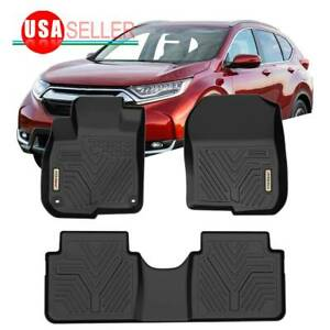 All Weather Floor Mats Floor Liners For 2017 2019 Honda Cr V 1st 2nd Row Black