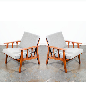 Mid Century Modern Lounge Chairs Pair Set Two Brown Grey Restored Vintage