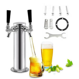 Double 2 Tap Stainless Steel Draft Beer Tower Kegerator Dual Chrome Faucets Usa