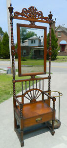 Nice Solid Oak Jenny Lind Style Hall Tree Seat Umbrella Stand Circa 1900