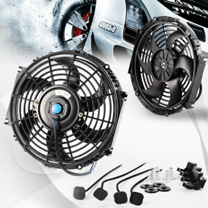 Universal 10 Slim Fan Push Pull Electric Radiator Cooling 12v 80w Mount Fan