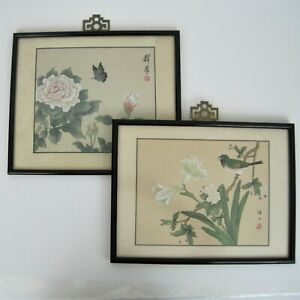 Chinese Silk Painting Framed W Glass Botanical Bird Butterfly Signed Lot Of 2