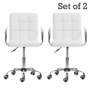 2x White Adjustable Office Executive Chair Computer Desk High Back Leather Seat