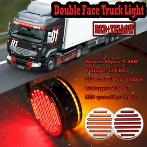 Truck Trailer Tractor 98 Led Red Amber Double Face Stop Tail Side Marker Light