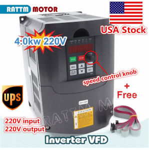 usa Hy 4kw Vfd Inverter Variable Frequency Drive Converter 220v 18a 2m Cable