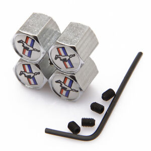 Wheel Tire Valve Stems Caps Anti Theft Locking For Ford Mustang Js393
