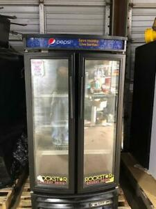 2 Door Cooler Refrigerator Glass Reach Commercial Used Drink Refrigeration True