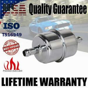 Chrome Canister Fuel Filter Fits 3 8 Id Hose Carbureted Inline Car Gas Filter