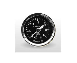 Marshall Gauge 0 30 Psi Fuel Oil Pressure Gauge Black 1 5 Diameter 1 8 Npt