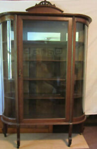 Antique Curved Glass Oak Carved China Cabinet 118 Years Old St Louis Mo
