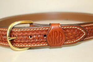 Aker Conceal Carry 1 5 Dress Gun Brown Leather Basket Weave Thick Belt Mens 38