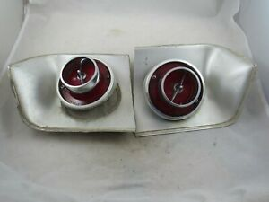 Vintage Pair Of Original 1963 Chevy Impala Tail Lights Light Moulding Inserts