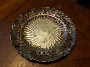James Dixon Sons Sterling Silver Pierced Bottle Coaster Or Card Tray Sheffield