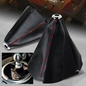 Black Pu Leather Gear Manual Shifter Shift Boot W Red Stitch Cover Universal