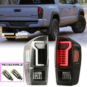 For 16 20 Toyota Tacoma Tail Light Black Clear Lens Led Neon Tube Style L R Set