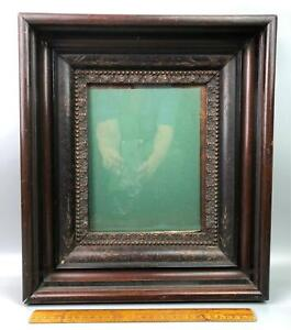 Antique Victorian Eastlake Wood Carved Shadow Box Picture Frame