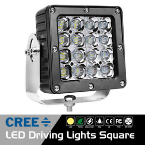 6 Led Square Driving Lights Cree Spot Pods Work Headlight Fog Offroad Atv Truck