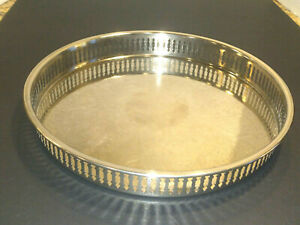 Vtg Leonard Silver Plated Drinks Round Tray 10 Floral Patern Marked