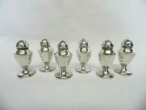 6 Vintage Individual Salt And Pepper Shakers Unweighted Sterling Silver 44 8g