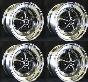 Ford Magnum 500 Wheels 2 15x7 And 2 15x8 Complete Set Black Ford Crest Caps