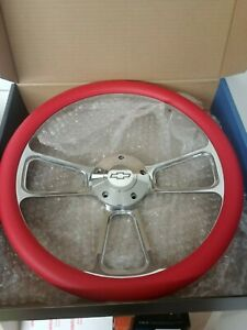 14 Billet Muscle Steering Wheel Red Half Wrap Chevy Horn Button Forever Sharp