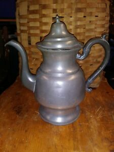 Early American Tall Pewter Coffee Pot C 1860