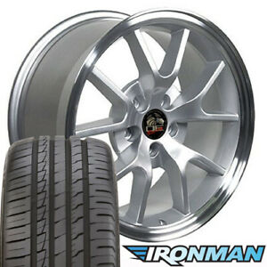 Npp Fit 18 Wheel Tire Set Ford Mustang Fr500 Style Silver Wheel Mach D Ironman