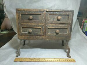 Vintage Wood Organizer Storage Chest With 4 Drawers 10 Inches Tall