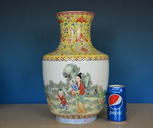 Beautiful Large Antique Chinese Famille Rose Porcelain Vase Marked Qianlong B802