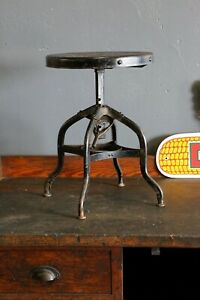 Vintage Toledo Drafting Stool 1940s Adjustable Swivel Seat Industrial Chair