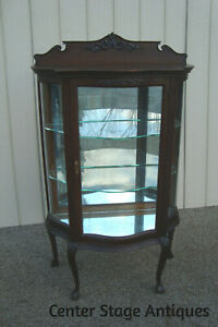 59776 Antique Oak Victorian Carved China Cabinet Curio