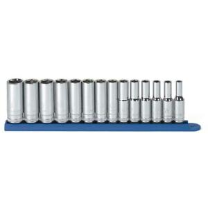 Socket Set 3 8 In Drive 6 point Large Hard stamped Silver Metallic 11 piece