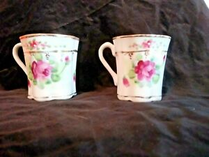 2 Vintage Hand Painted Demitasse Tea Cups Pink Floral Design With Gold Tone Trim