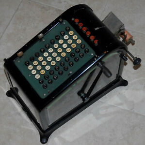 Antique Burroughs Adding Machine Beveled Glass Sides And Front