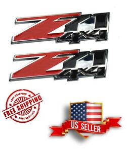 Two Z71 4x4 Emblem Badge 3d Stick On For Sierra Chevy Silverado Tahoe Suburban