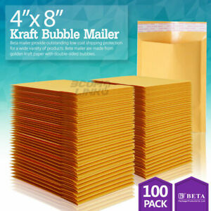 100 000 4x8 Kraft Paper Bubble Padded Envelopes Mailers Shipping Case 4 x8