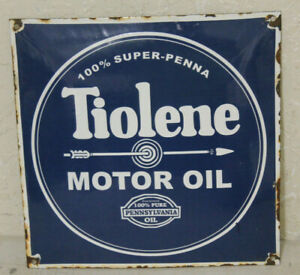 Tiolene Oil Vintage Style Porcelain Signs Gas Pump Man Cave Station