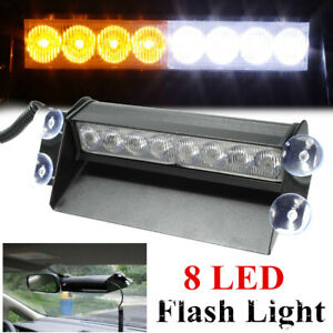 8led Car Truck Dash Strobe Flash Hazard Light Emergency Warning White