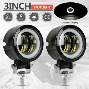 Pair 3 Inch Cree Round Led Work Light Driving Spot Pods Offroad Motorcycle Suv