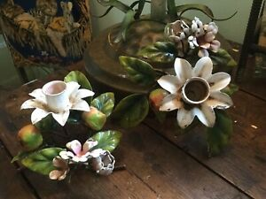 Vintage Italian Tole Pr Candle Holders W Apples Blossoms Shabby Chippy Garden