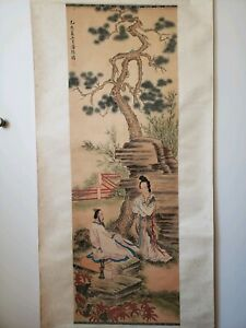 Vividly Beautiful Antique Chinese Painting Scroll Late Qing Dynasty 1850 1910